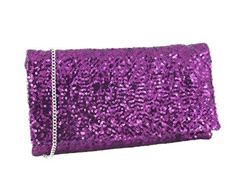 paillette de Fete Bandouliere Pochette y Hot Soiree Fluorescent Scintillante Bolso Bolsa Pink de TRq8nO5