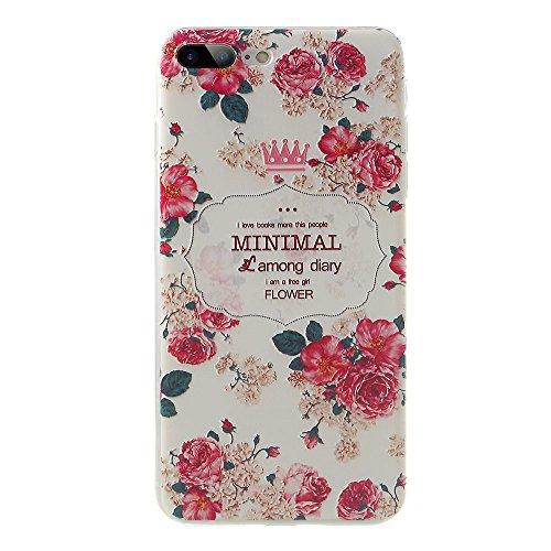 Softlyfit Embossed Pattern TPU Back Tasche Hüllen Schutzhülle - Cover Case für iPhone 7 Plus 5.5 inch - Pretty Flowers