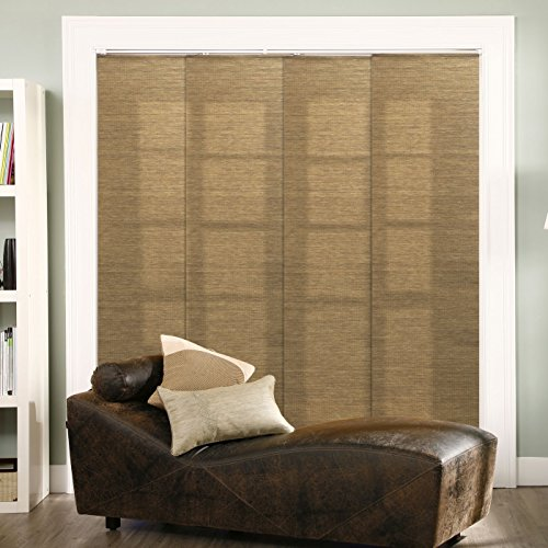 Chicology Adjustable Sliding Panels, Cut to Length Vertical Blinds, Lattice Latte (Natural Woven) - Up to 80