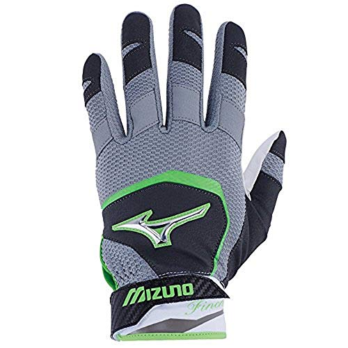 Fastpitch Softball Batting Glove - Mizuno Finch Youth Kids Fastpitch Softball Batting Gloves, Medium, Black/Optic/Sulphur