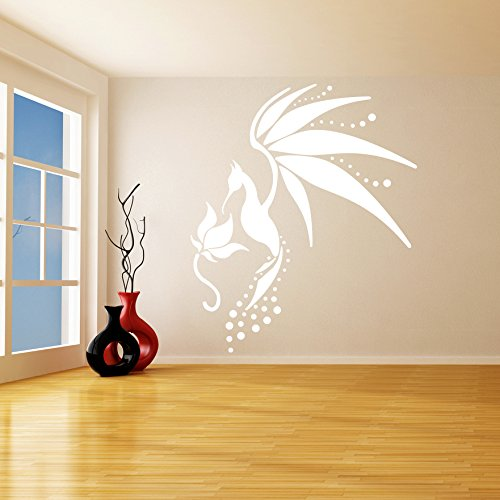( 68'' x 79'' ) Glowing Vinyl Wall Decal Fairy Tail Bird / Glow in the Dark Art Decor Sticker / Fantasy Luminescent Mural Kids Room + Free Decal Gift!