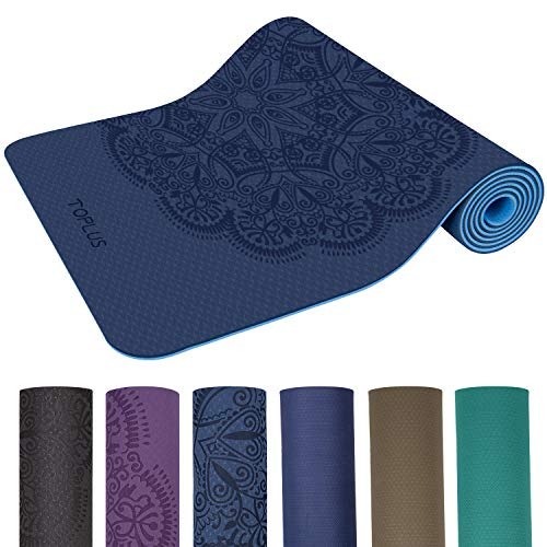 TOPLUS Yoga Mat, Classic Pro Fitness Mat TPE Eco Friendly Non Slip Exercise Mat with Carrying Strap-Workout Mat for Yoga, Pilates and Gymnastics 183 x 61 x 0.6CM (Dark blue)