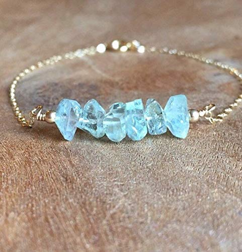 - Raw Aquamarine Crystal Bracelet Gold Fill Sterling Silver March Birthstone Jewelry
