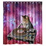 "Cool Galaxy DJ Cat Funny Animal Pet Design Mildew Proof Polyester Fabric Shower Curtain with Rings 66"" x 72"""