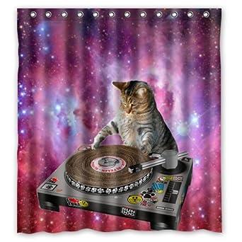 Amazon.com: Cool Galaxy DJ Cat Funny Animal Pet Design Mildew ...