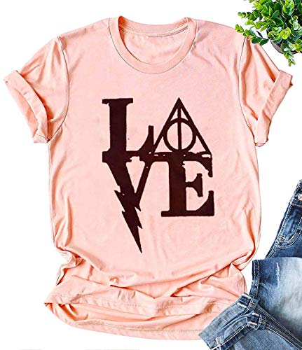 Love Letters Graphic Cute T Shirt Women's Short Sleeve Tees Casual O-Neck Holiday Tops (Medium, Pink)