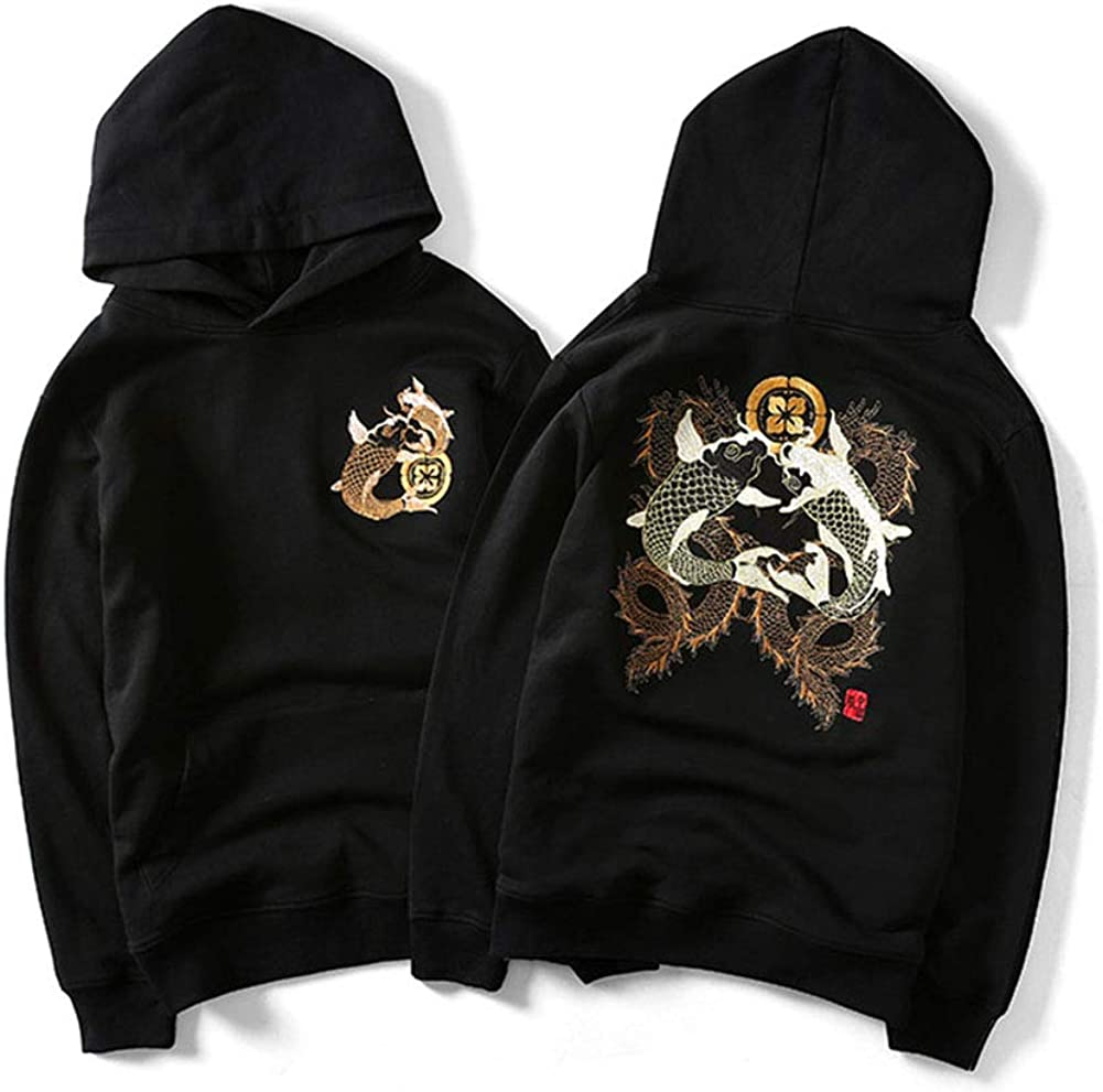 Herren Kapuzensweatshirt Chinese Goldfish Stickerei ethnischen Langarm Hoodies Stil lose Größe Pullover Black