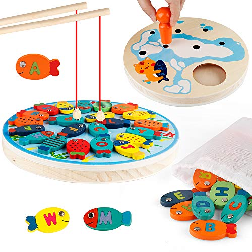 D-FantiX Magnetic Fishing Game Wooden Alphabet Letter Magnets Catching Fish Toy Board Games with Magnet Fishing Poles Educational Preschool Learning Toys for 3 4 5 Year Old Boys Girl Kids Toddlers