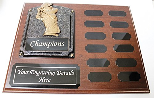 NWA Golf Perpetual Plaque, 12 Year Golf Award, Plaque w/Engraving