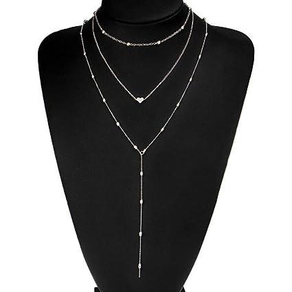 ca49859f7b4e86 Yssabout Collana girocollo multi-filo da donna con pendente a cuore,  metallo, Silver, As description: Amazon.it: Casa e cucina