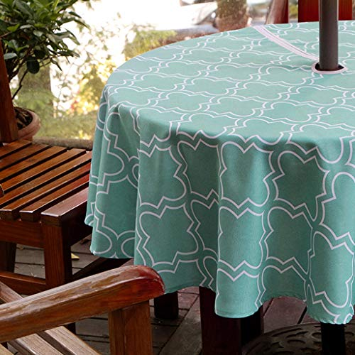 BTSKY Durable Patio Outdoor Umbrella Tablecloth with Zipper and Umbrella Hole, Water and Stain Resistant Round Tablecloth 60 inch Green (Round Zipper)
