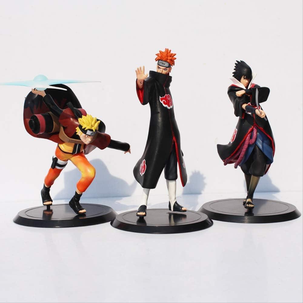 Yangzou 3 Piezas 15 Cm Naruto Shippuden Figuras Naruto Uzumaki Sasuke Uchiha Dolor Akatsuki Anime Modelo Juguetes