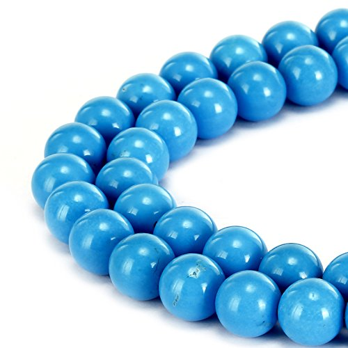 BRCbeads Gorgeous Natural Sky Blue Turquoise Gemstone Smooth Round Loose Beads 10mm Approxi 15.5 inch 35pcs 1 Strand per Bag for Jewelry - Natural Turquoise Pendant Blue Sky