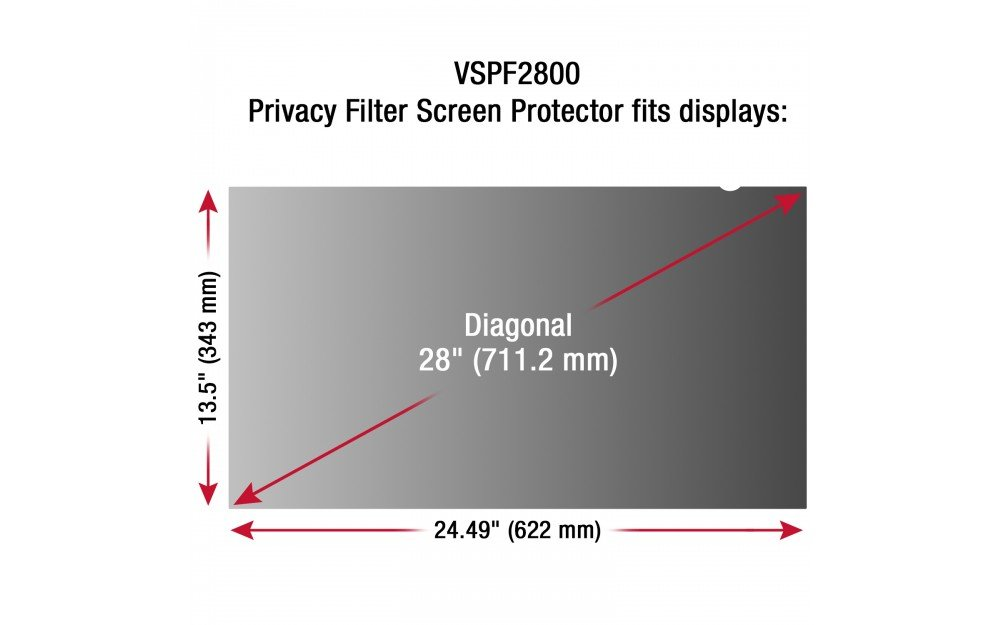 ViewSonic Accessory VSPF2800 28inch Privacy Filter Screen Protector 16:9 Retail by ViewSonic