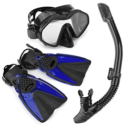 Arkmiido Snorkel Set - Fully Dry Top Snorkel, Impact Resistant Tempered Glass Anti-Fog Snorkeling Mask, Adjustable Diving Fins/Flippers for Scuba Swimming Free Breathing, with Quick Dry Gear Bag L