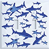Double Toggle Shark Attack Light Switch Plates Covers/Sharks Childrens Nursery Wall Decor (Double Toggle): more info