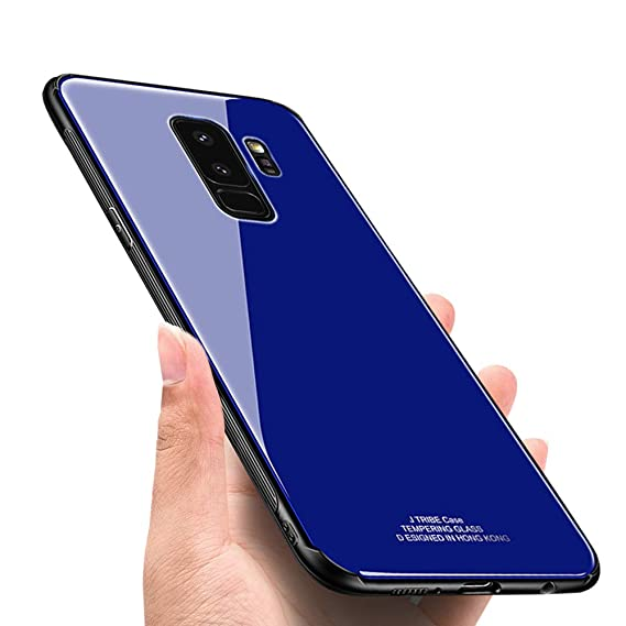 newest 533fe 70369 S-9 Plus case for Samsung Galaxy 9plus Cover Mirror Cell Phone Samsum  glaxay S9 9splus Slim Tempered Glass Bumper 6.2 Inch (Blue)