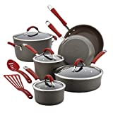 Food Network Featured Cookware Set RACHAEL RAY Premium Nonstick Hard Porcelain Enamel Cookware Oven Safe, PFOA-free,Dishwasher Safe, 12-Piece, Gray, Cranberry Red Handles