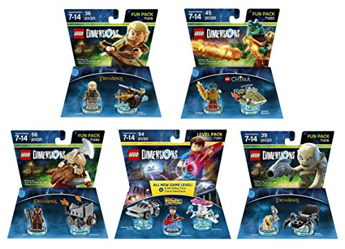 Lego Racers Ring (Back To The Future Marty McFly Level Pack + The Lord Of The Rings Legolas + Gimli + Gollum + The Legend Of Chima Cragger Fun Packs - LEGO Dimensions - Not Machine Specific)