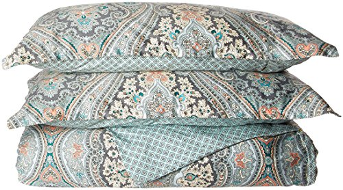 Echo Design Sterling Duvet Cover King Size - Teal Green, Damask Duvet Cover Set – 3 Piece – Cotton Light Weight Bed Comforter Covers