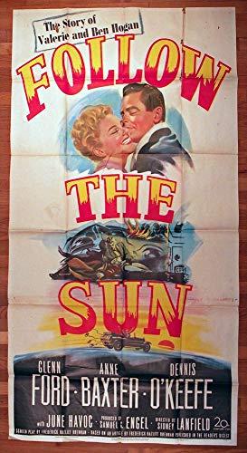 Follow The Sun (1951) Original U.S. Three-Sheet Movie Poster 41x81 GLENN FORD ANNE BAXTER Biopic of golfing legend BEN HOGAN Film directed by SIDNEY LANFIELD.