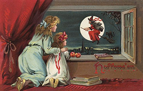 Halloween Greeting - Witch from the Window - Vintage Holiday Art  Print, Wall Decor Travel Poster