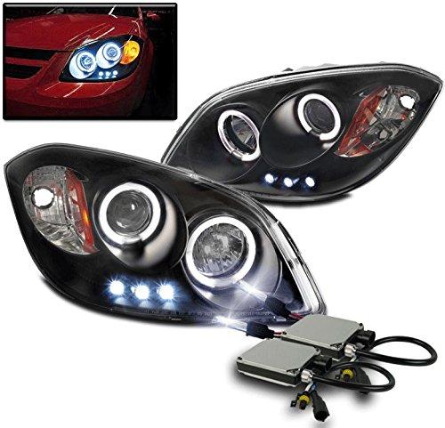 2005-2010 Chevy Cobalt / 2007-2009 Pontiac G5 / 2005-2006 Pursuit Halo LED Projector Headlights with 10000K HID Conversion Kit - Black Halo Headlights Conversion