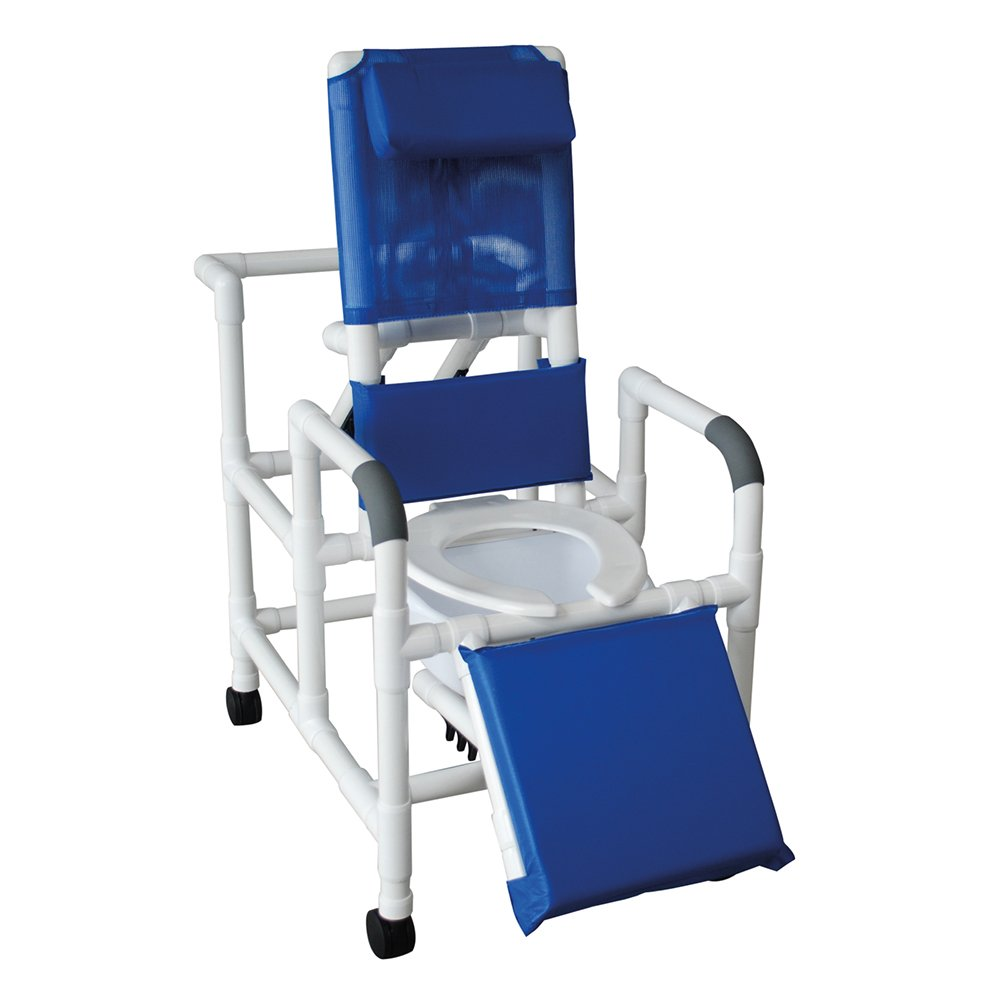 MJM International 193-SQ-PAIL Reclining Shower Chair with Elevated Leg Extension and Commode Pail, 325 oz Capacity, 49.5'' Height x 58.5'' Length x 24'' Width x 62'' Depth, Royal Blue/Forest Green/Mauve