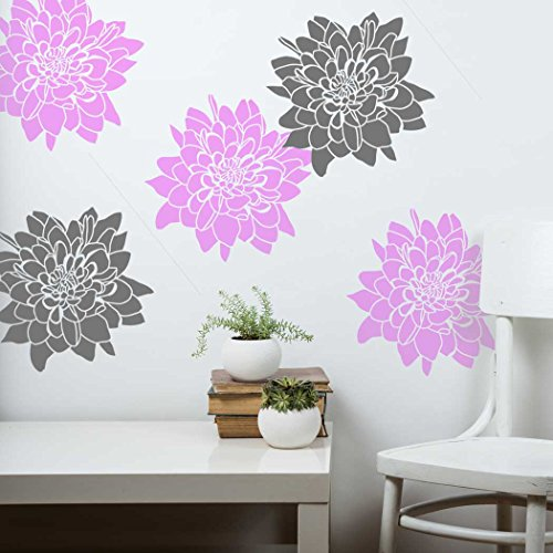 J BOUTIQUE STENCILS Chrysanthemum Flower Wall stencil - Wallpaper look for DIY Home projects