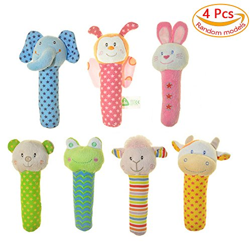 4 Pcs Baby Stick Rattle Toy Pram Crib Activity Soft Toys Xmas (Tag Along Chimes)