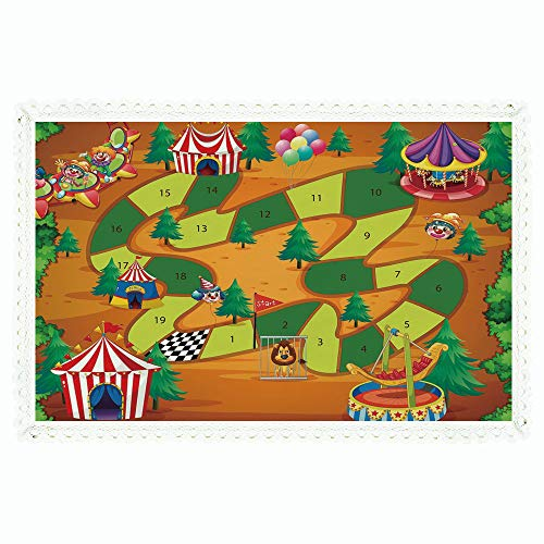 iPrint Board Game,Rectangle Polyester Linen Tablecloth/Circus Themed Design Jokers Tents Balloons Trees Playful Joyous Cartoon Field/for Dinner Kitchen Home -