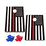 Thin Red Line American Flag Cornhole Game - Firefighter Gift Bag Toss Game - 8 Bags included - Wooden Boards