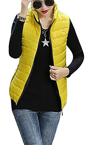 yellow quilted vest - 2