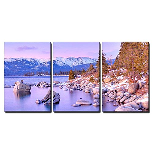 Framed Print Lake (wall26 - 3 Piece Canvas Wall Art - Lake Tahoe - Modern Home Decor Stretched and Framed Ready to Hang - 24