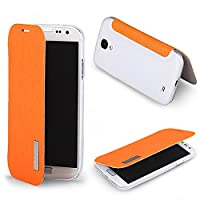 The Flip Cover Folio Case Screen Protective Compatible With Samsung Galaxy S4 Iv I9500 (Orange)