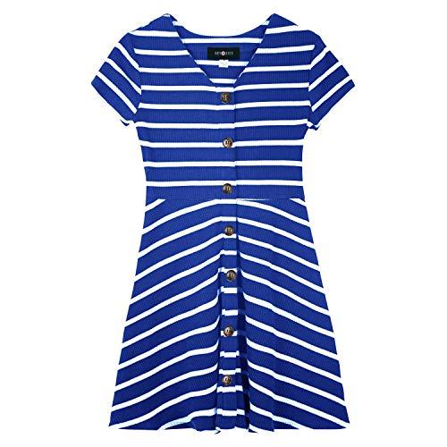 Amy Byer Girls' Big Faux Button Front Knit Dress, Cobalt/White Stripe, L