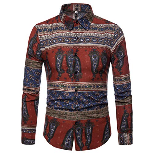 Shirts Casual Button Down Long Sleeve Hawaiian Shirt Vintage Ethnic Printed Turn Down Collar Loose Men (XXL,1- Red) -