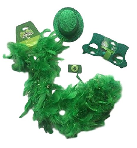 [St Patricks Day Party Set!! St Patricks Day Accessories (Green Boa, Glittery Costume Top Hat Glasses, Glittery Mini Top Hat and a Shamrock Themed] (Green Themed Costumes)