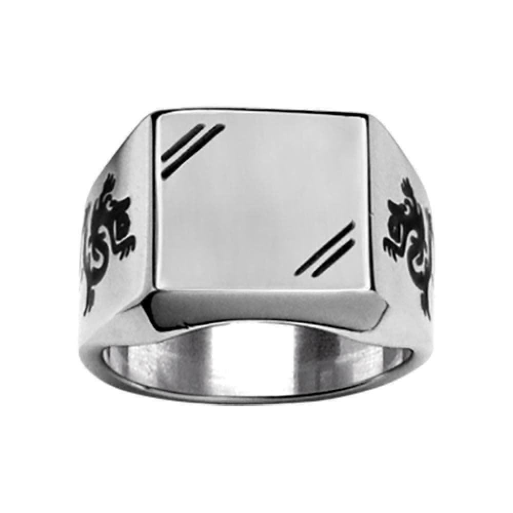 So Chic Jewels - Stainless Steel - Satiny Look Black Dragon Design on the Side Square Shape Signet Ring - Size 9 - Customisable: Your Message Engraved Free