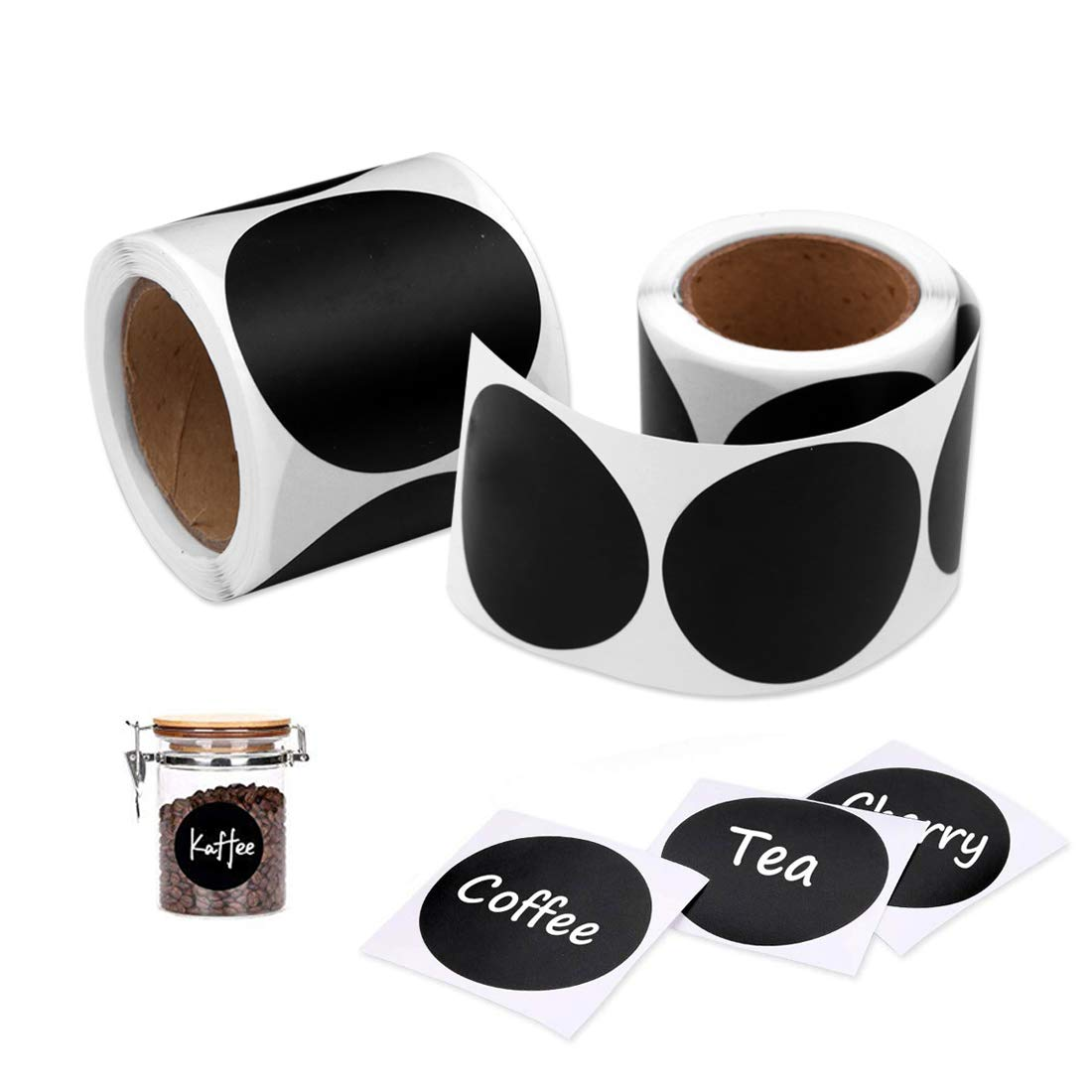 etiquetas de cocina Etiquetas de puntos de codificaci/ón de color negro redondo de 5 cm para frascos Etiquetas Adhesivas 240 piezas Etiquetas de Pizarra Pegatinas botellas contenedores