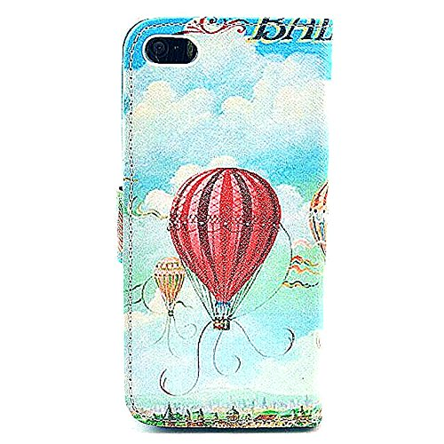 iphone 5 Case,iphone 5S Case, Welity Cute Fashion Eiffel Tower Fire Balloon Graphic Magnetic Snap Wallet Flip PU Leather With Stand Cover Case for Apple iPhone 5/5S/5G and one gift