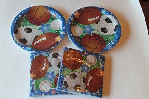 Platos de papel con temática deportiva y servilletas (baloncesto ...