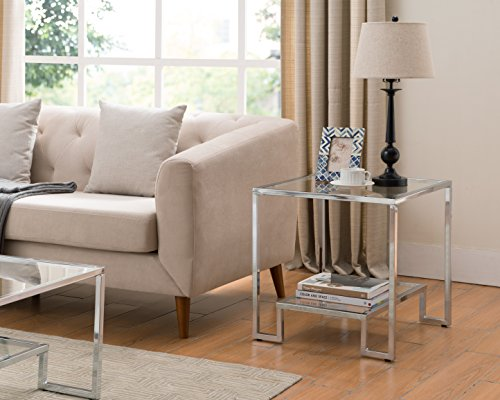Glass Wide End Table - Chrome Finish / Glass Top Side End Table with Lower Shelf