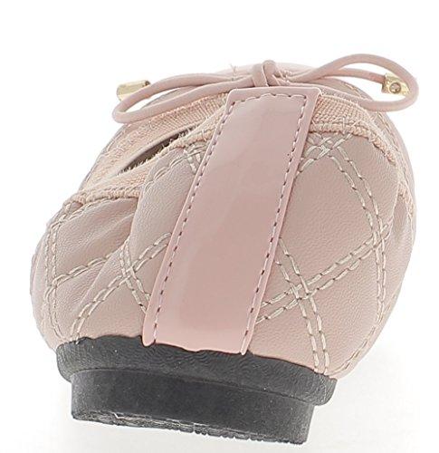 Ballerina rosa con nodo trapuntato effetto
