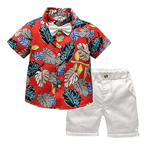 Toddler Baby Boy Short Sleeve Bow Tie Gentleman Leaf T-Shirt Tops+Shorts Outfits Red (Spiderman For Nintendo 64)