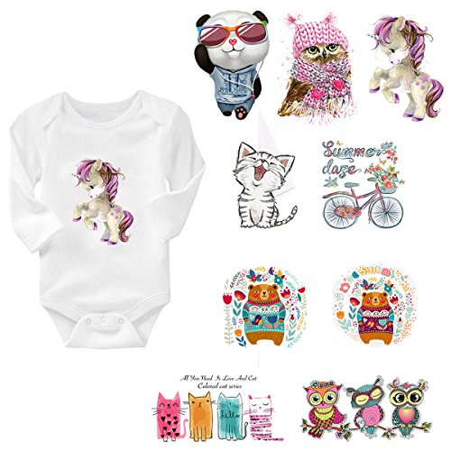 Iron on Heat Transfer Patches for Kids - 9 Pcs Appliques Patch Decoration for Baby Dress. Funny Cartoon Animal Clothes Stickers for Kids T Shirts, Women ()