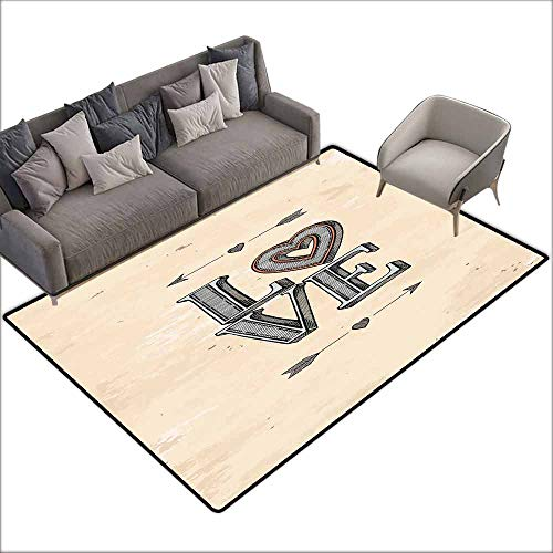- Anti Slip House Kitchen Door Area Rug Love,Grunge Letters with Valentines Heart and Arrows Boho Tribal Hipster Design,Beige Grey Orange 36