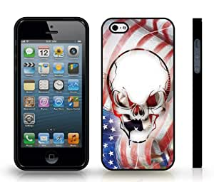 American Skull Anger Emotion Graphic Design, Snap-on Cover Hard Carrying Case for iPhone 4/4s (Black)
