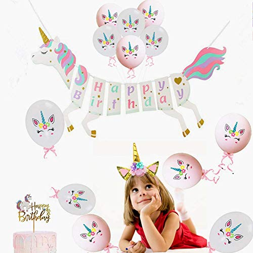 Happy Birthday Pull - Rainbow Unicorn Theme Happy Birthday Banner &Unicorn Horn Headban&Unicorn Balloon- Pre-Assembled Unicorn Themed Party Supplies Decorations,Premium Unicorn Birthday Party Magical Pastel Design with Sparkle Gold Glitter Boy Girl Baby Party Favors! Cute, Glossy.
