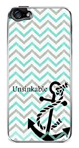 Chevron Zig Zag Anchor Unsinkable Snap-On Cover Hard Plastic Case for iPhone 5/5S (Clear)